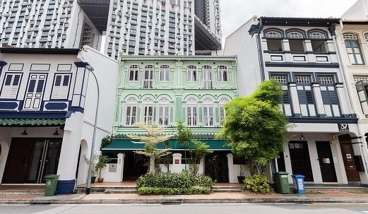 The pair of conservation shophouses at 38 and 39 Craig Road (centre) will be sold with existing tenancies